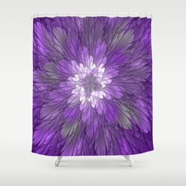 Psychedelic Purple Flower, Fractal Art Shower Curtain