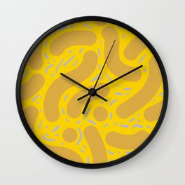 Wibbly Wobbly - Yellow mustard, and lavender Wall Clock