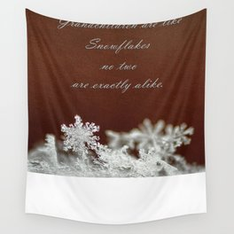 Grandchildren and Snowflakes Wall Tapestry