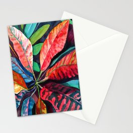 Colorful Tropical Leaves 2 Stationery Cards