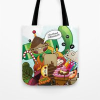 katamari Tote Bags featuring Chestnut Katamari by Ed Warner