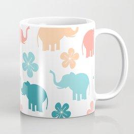 cute colorful pattern with elephants and flowers Coffee Mug