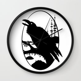 Raven Silhouette IV Wall Clock