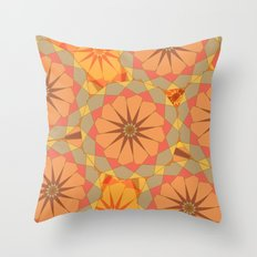 Circular orange ornament Throw Pillow