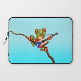 Tree Frog Playing Acoustic Guitar with Flag of Puerto Rico Laptop Sleeve