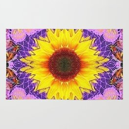 ABSTRACTED PURPLE-GOLD  SUNFLOWER ART Rug