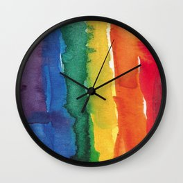 rainbow watercolor Wall Clock