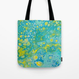 Fluid Art Acrylic Painting, Pour 35, Blue, Yellow & Green Blended Color Tote Bag