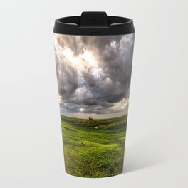 The Prairie - Silver Sky Over Nebraska Landscape Travel Mug