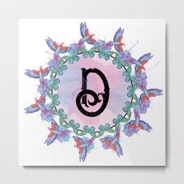 Nature Mandala Monogram D Metal Print