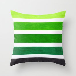 Colorful Green Stripes Throw Pillow