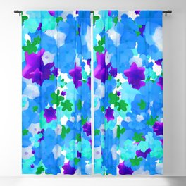 Bright Floral Pattern with Girly Flowers in Preppy Blue and Purple Blackout Curtain