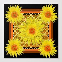 Western Black-Brown Yellow Sunflowers Pattern Canvas Print