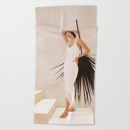 Minimal Woman with a Palm Leaf Beach Towel