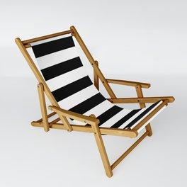 Large Black and White Horizontal Cabana Stripe Sling Chair