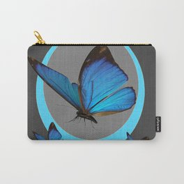 NEON BLUE BUTTERFLIES  & CHARCOAL GREY PATTERN Carry-All Pouch