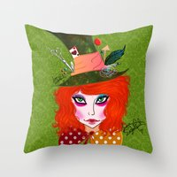 mad hatter Throw Pillows featuring Mad Hatter by Lunah