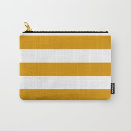 Harvest gold - solid color - white stripes pattern Carry-All Pouch