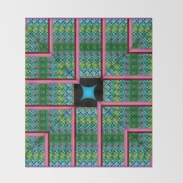 no. 341 green aqua pink red pattern Throw Blanket