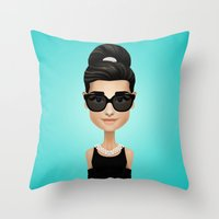audrey Throw Pillows featuring Audrey by Matias G. Martinez