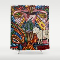 mother Shower Curtains featuring Mother by Thom Whalen