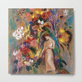 Female figure into red poppy, calla lilies, hibiscus, and flowers portrait painting by Odilon Redon Metal Print
