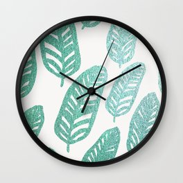 Bright green and blue leaves Wall Clock