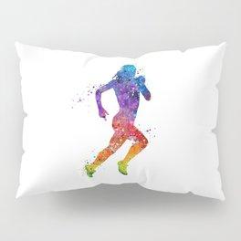 Girl Running 2 Colorful Watercolor Sports Art Pillow Sham