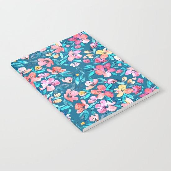 Teal Summer Floral in Watercolors Notebook