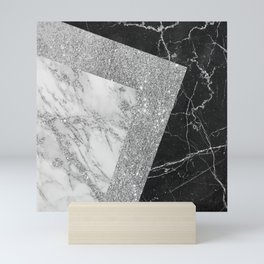 Stylish elegant black white silver glitter marble Mini Art Print