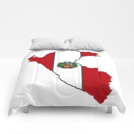 Peru map with Peruvian Flag Comforters