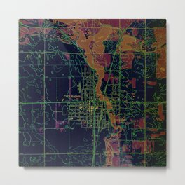 Park Rapids old map year 1969, united states old maps, colorful art Metal Print