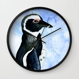 Watercolor Penguin & Ice Blue Watercolor Texture Wall Clock