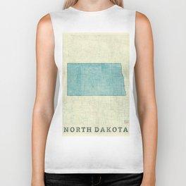 North Dakota State Map Blue Vintage Biker Tank