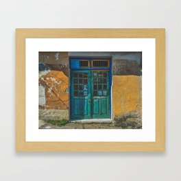 Turquoise Wooden Door - Aged & Worn Framed Art Print