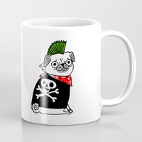 hiphop Mugs featuring Pug Rock by gemma correll