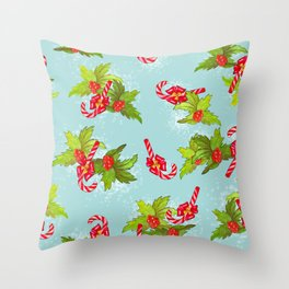 Christmas candy canes with winterberry Throw Pillow