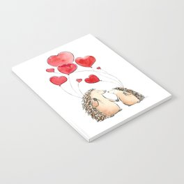 Hedgehogs in Love, illustration of hedgehog sweethearts with balloons. Notebook