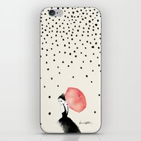 karen hallion iPhone & iPod Skins featuring Polka Rain by Karen Hofstetter