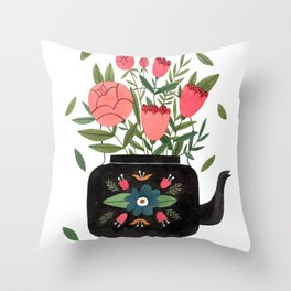 Floral Kettle Throw Pillow