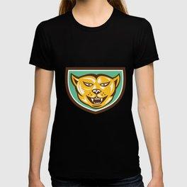Puma Mountain Lion Head Shield Woodcut T-shirt