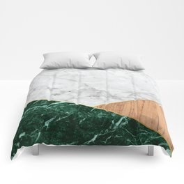 White Marble Green Granite & Wood #138 Comforters