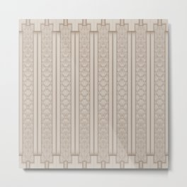 Cool Frosted Mocha Quilted Geometric Design Metal Print