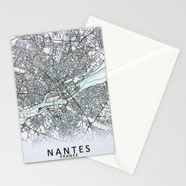 Nantes, France, White, City, Map Stationery Cards