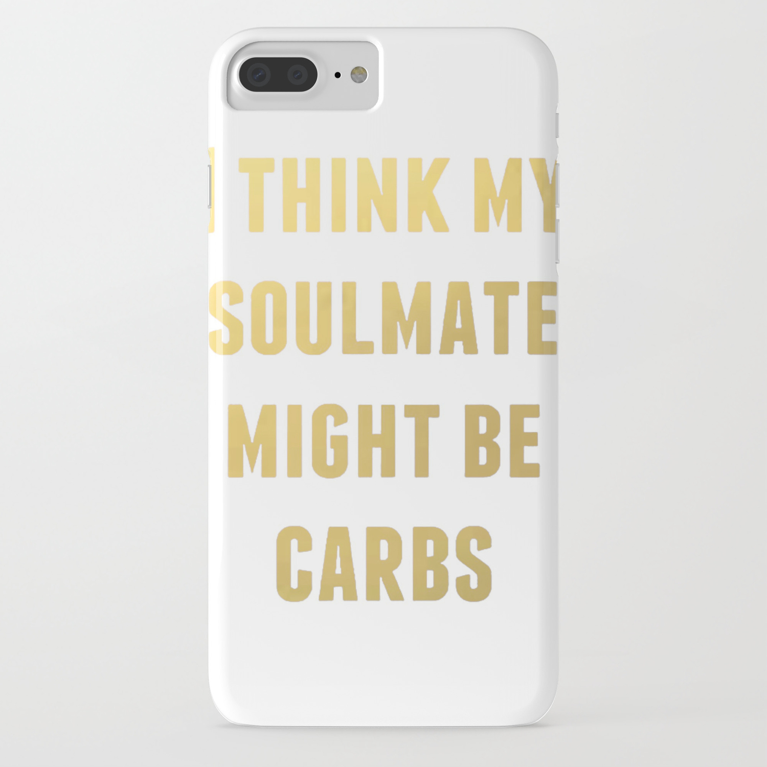 Soulmate Love Heart Quote Carbs Funny Gold Foil Calligraphy Watercolor  Brushstroke iPhone Case