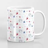 airplanes Mugs featuring Little Toy Airplanes on White by Art Tree Designs