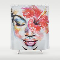 hibiscus Shower Curtains featuring Hibiscus by Maria Lozano - Art
