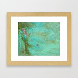 Listening in Green Framed Art Print