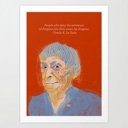 Ursula K. Le Guin portrait + quote Art Print