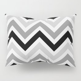 Chevron Stripes : Black Gray White Pillow Sham